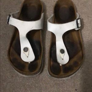 White Birkenstock gizeh sandals